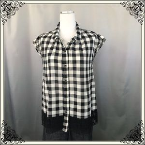 Anthro Holding Horses B/W Checkered Top #2004